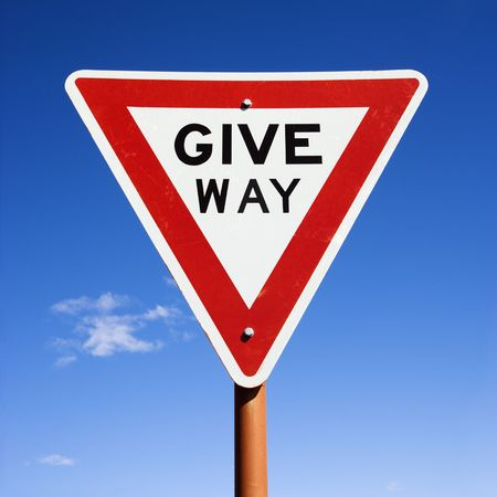 give way: Humorous road sign reading Give Way in Australia. Stock Photo