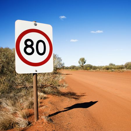 kilometer: Australian kilometer per hour speed limit sign by rural dirt road.