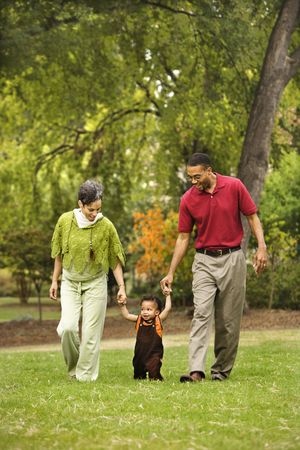 Mother and father helping toddler walk holding his hands in park. Stock Photo - 2616063