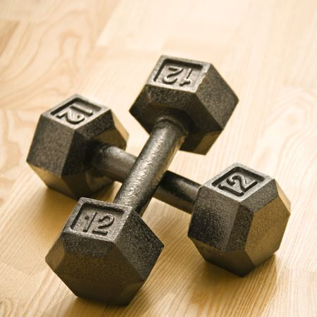 hand weights: Twelve pound hand weights still life.