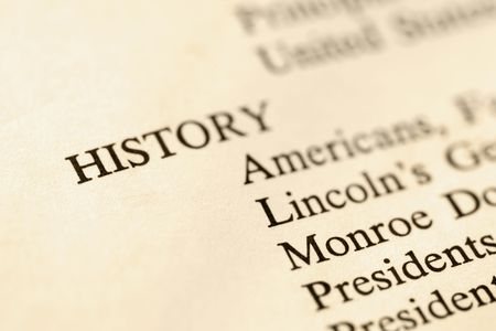 Selective focus of page with the word history and corresponding categories. Stock Photo