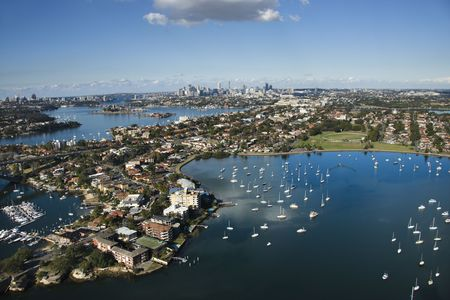 Aerial view of Sydney, Australia from Five Dock Bay in Drummoyne.