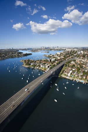 Aerial view of Victoria Road bridge and boats in Sydney, Australia. Stock Photo - 2654592