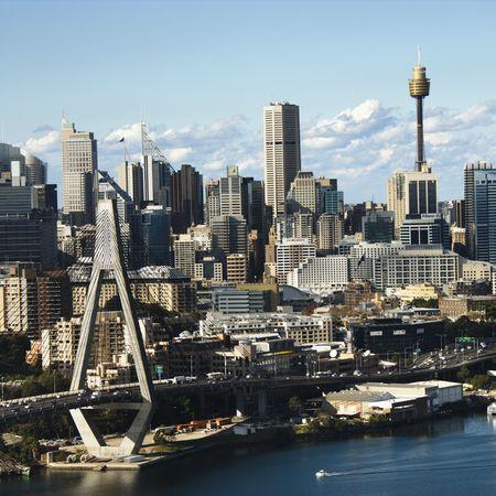 Aerial view of Anzac Bridge and buildings in Sydney, Australia.