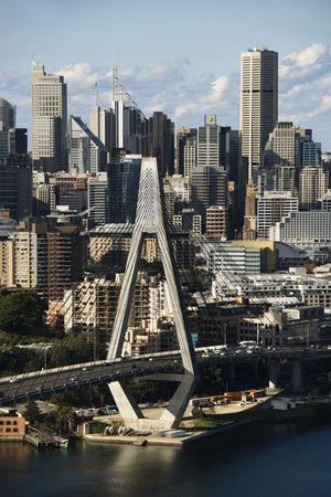 Aerial view of Anzac Bridge and buildings in Sydney, Australia. Stock Photo - 2655378