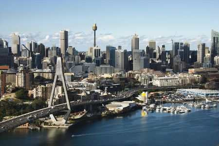 Aerial view of Anzac Bridge and downtown buildings in Sydney, Australia.