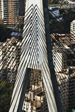 Aerial view of detail of Anzac Bridge and buildings in Sydney, Australia. Stock Photo - 2654752