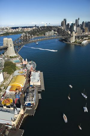 aerial photograph: Aerial view of Luna Park Sydney, Australia with boats in Sydney harbour and view of Sydney Harbour Bridge.