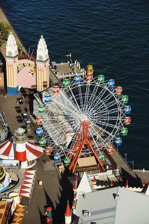port jackson: Aerial view of ferris wheel in Luna Park Sydney, Australia.