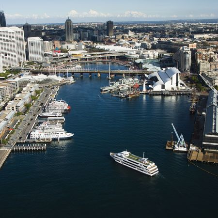 Aerial view of ships and boats in Darling Harbour with view of skyscrapers in Sydney, Australia. Stock Photo - 2655406