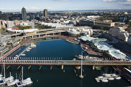 darling: Aerial view of Pyrmont Bridge and boats in Darling Harbour, Sydney, Australia. Stock Photo