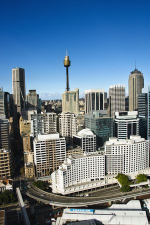 Aerial view of buildings in downtown Sydney, Australia.