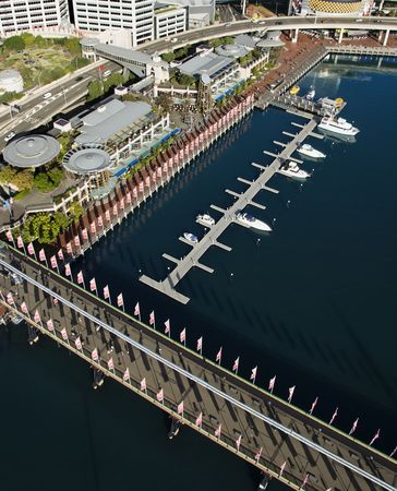 Aerial view of Pyrmont Bridge andboats in Darling Harbour, Sydney, Australia. Stock Photo - 2654705