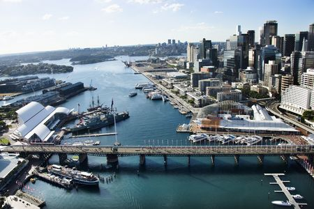 sydney harbour bridge: Aerial view of Darling Harbour in Sydney, Australia. Stock Photo
