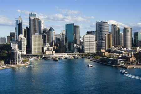 ferry: Aerial view of skyscrapers and Sydney Cove in Sydney, Australia.
