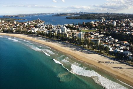 beachfront: Aerial view of beachfront property in Sydney, Australia.
