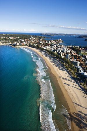 beachfront: Aerial view of beachfront buildings and ocean in Sydney, Australia.