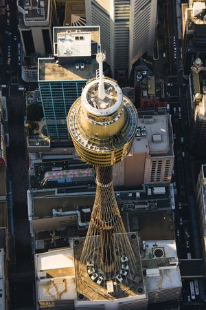 centrepoint tower: Aerial view of Centrepoint Tower in Sydney, Australia.
