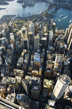 aerial photograph: Aerial view of downtown Sydney, Australia.