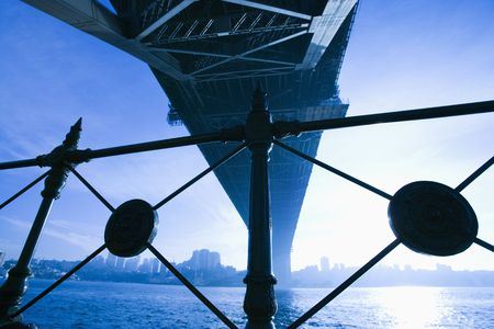 port jackson: View from underneath Sydney Harbour Bridge in Australia at dusk with harbor and city skyline visible.
