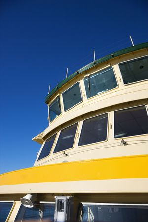 ferryboat: Detail of ferryboat showing windows and exterior in Sydney, Australia. Stock Photo