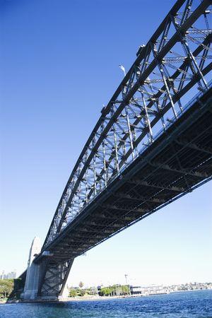 port jackson: Low angle view of Sydney Harbour Bridge in Sydney, Australia.