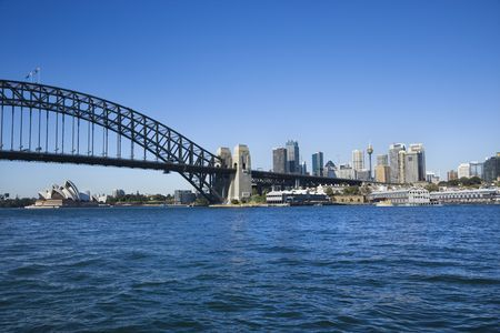 Sydney Harbour Bridge with view of downtown skyline and Sydney Opera House in Australia. Stock Photo - 2654686