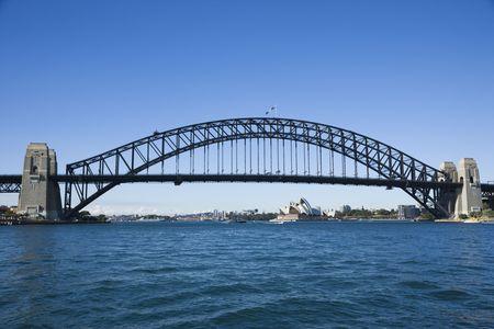port jackson: Sydney Harbour Bridge with view of  Sydney Opera House in Australia. Stock Photo