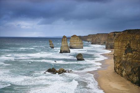 apostles: Twelve Apostles rock formation on coastline as seen from the Great Ocean Road, Australia. Stock Photo