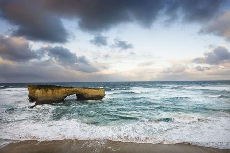 �rock formation�: Rock formation forming arch on coastline of Great Ocean Road, Australia.