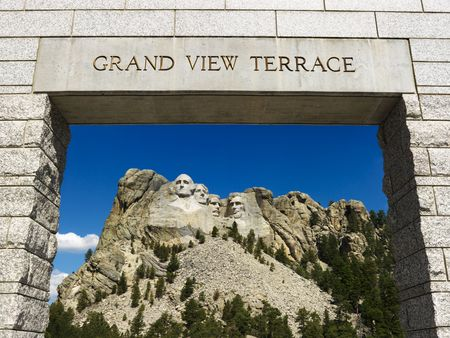 historical landmark: Mount Rushmore National Memorial as seen from Grand View Terrace archway. Editorial