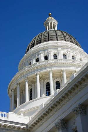 governmental: Low angle of the dome at the Sacramento Capitol building, California, USA.