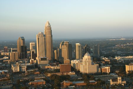 Aerial view of uptown buildings in Charlotte, North Carolina. photo