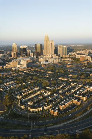 Aerial view of downtown buildings in Charlotte, North Carolina. photo
