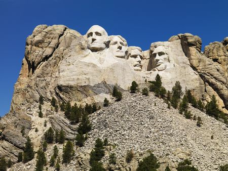 mount rushmore: Mount Rushmore National Memorial with mountain and trees. Editorial