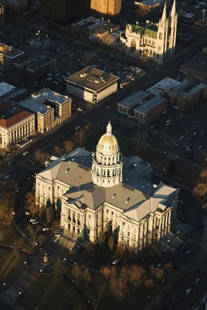 capital of colorado: Aerial landscape of Denver, Colorados State Capitol building, United States.
