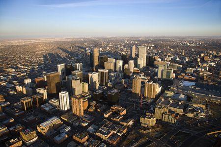 capital of colorado: Aerial cityscape of urban Denver, Colorado, United States.
