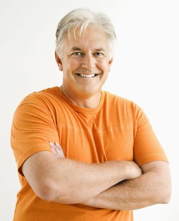 Portrait of smiling adult man standing looking at viewer with arms crossed. Stock Photo - 3557486