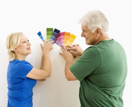 Middle-aged couple comparing and discussing paint swatches. Stock Photo - 3557423