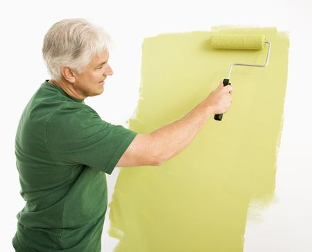 Middle-aged man painting wall green with paint roller. Stock Photo - 3557482
