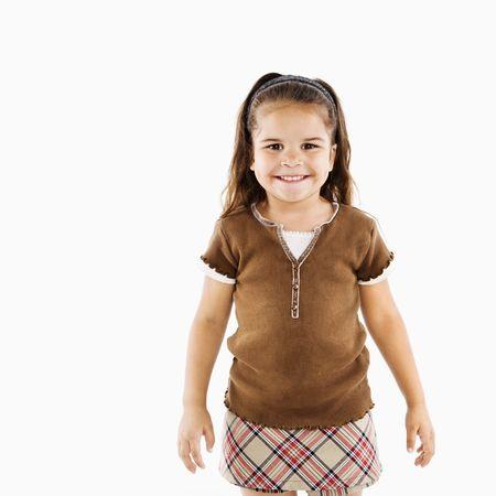 Adorable little hispanic girl standing smiling. Stock Photo - 3569531
