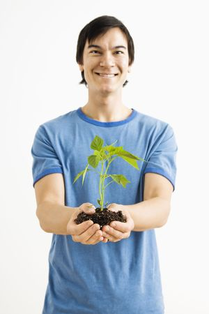 Asian man standing holding growing cayenne plant. photo