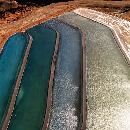 toxic water: Aerial detail of tailing ponds for mineral waste in rural Utah, United States.