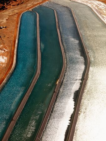 Aerial detail of tailing ponds for mineral waste in rural Utah, United States. photo