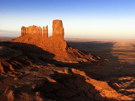 mesas: Scenic landscape of mesas in Monument Valley near the border of Arizona and Utah, United States.