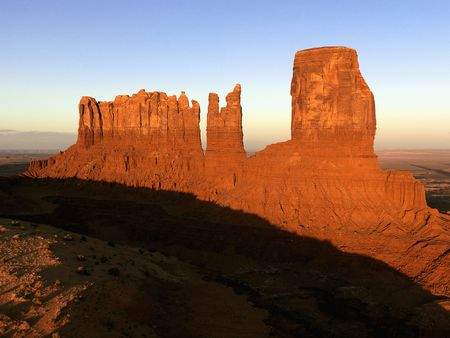 Scenic landscape of mesas in Monument Valley near the border of Arizona and Utah, United States.
