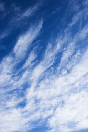 wispy: Beautiful blue sky with light wispy clouds. Stock Photo