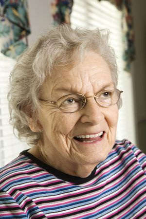 Portrait of elderly woman in eyeglasses smiling. Vertical shot. Stock Photo - 6271474