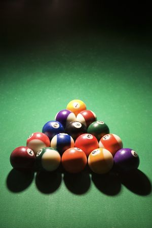 Racked pool balls on pool table. Vertical shot. photo