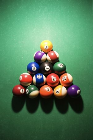Overhead view of racked pool balls on pool table. Vertical shot. photo